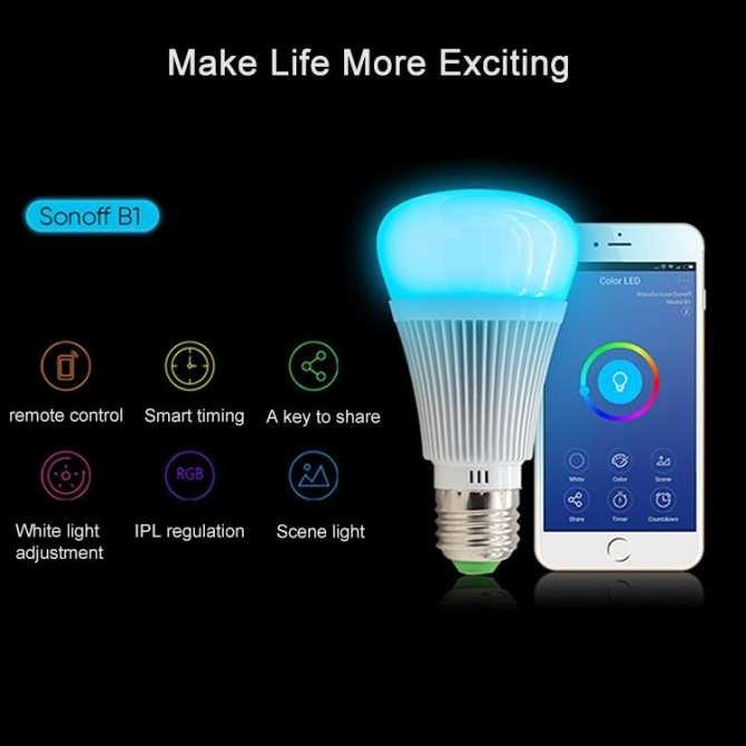 ΕΞΥΠΝΗ ΛΥΧΝΙΑ LED DIMMABLE E27 - ΕΓΧΡΩΜΗ ΛΑΜΠΑ RGB SONOFF B1 955f27e29a4